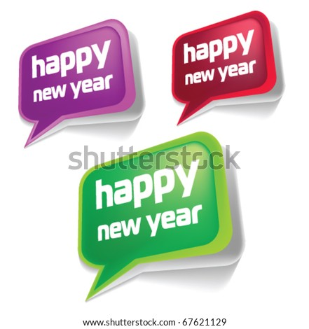Stock vector new year speech bubbles - stock vector