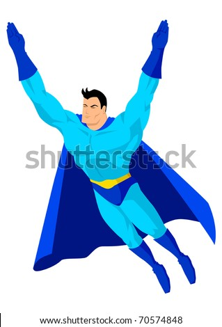 Stock vector of a superhero flying - stock vector