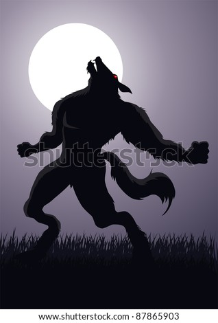 Stock vector of a werewolf at a full moon - stock vector