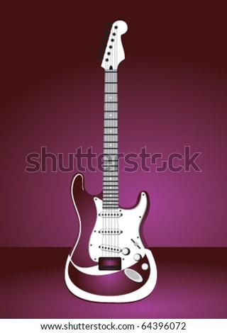 Stock vector pink guitar - stock vector