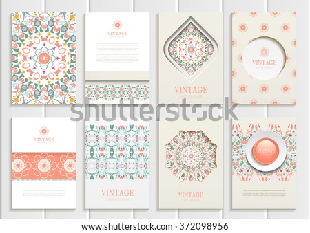Stock vector set of brochures in vintage style. Design templates pastel, Orange floral frames, ornaments, patterns and beige backgrounds. Use for printed materials, signs, elements, web sites, cards - stock vector
