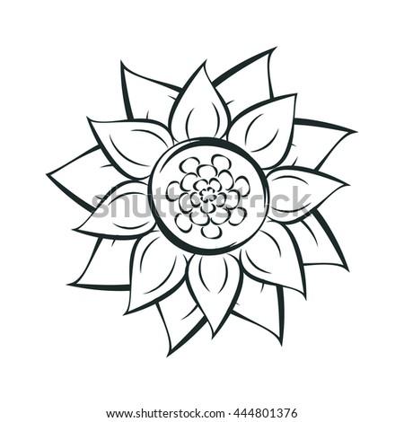 Stock  vector sunflower flat icon.  Spring flower - stock vector