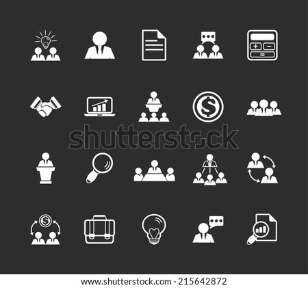 Stock vector team management white pictograph icon set - stock vector