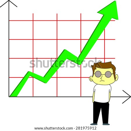 Stock vector uptrend on the stock market, green arrow - stock vector