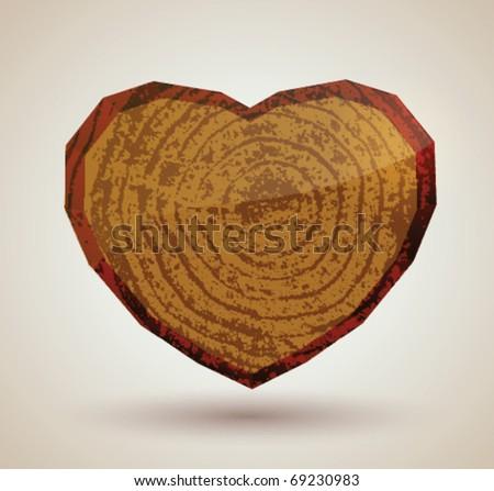 Stock vector wooden heart - stock vector