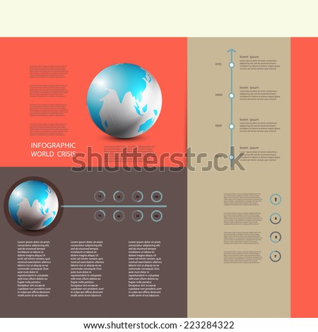 stock vector / world map  time crisis / info graphic  /abstract Paper Graphics - stock vector