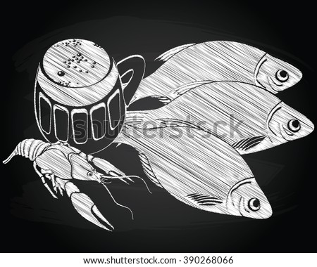 Stockfish, lobster and beer - stock vector
