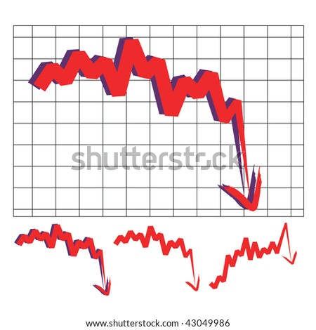 stocks index downward arrow vector, indicate decline and sharp turn. Please check my profile for upward arrow. - stock vector