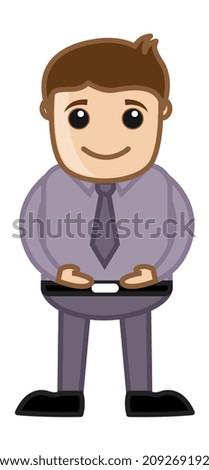 Stomach Fit Vector Man Cartoon - stock vector