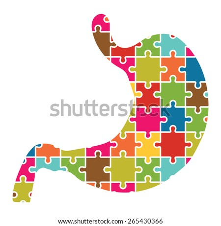 Stomache Jigsaw Puzzle Pieces Abstract - stock vector