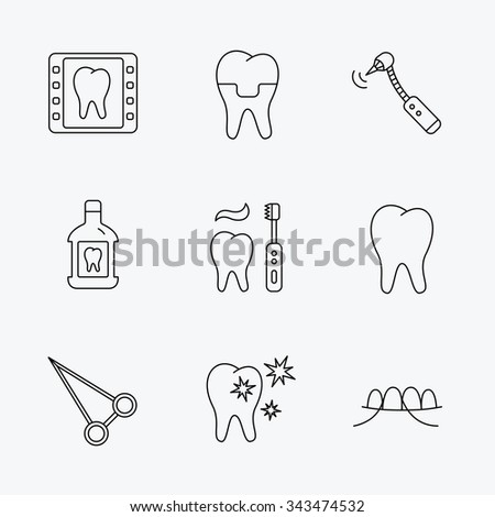 Stomatology, tooth and dental crown icons. X-ray, mouthwash and dental floss linear signs. Toothache, forceps icons. Linear black icons on white background. - stock vector