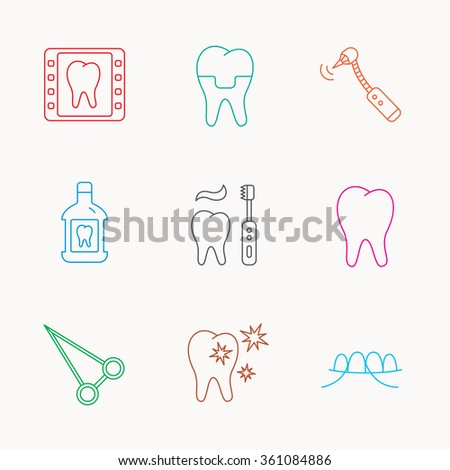 Stomatology, tooth and dental crown icons. X-ray, mouthwash and dental floss linear signs. Toothache, forceps icons. Linear colored icons. - stock vector