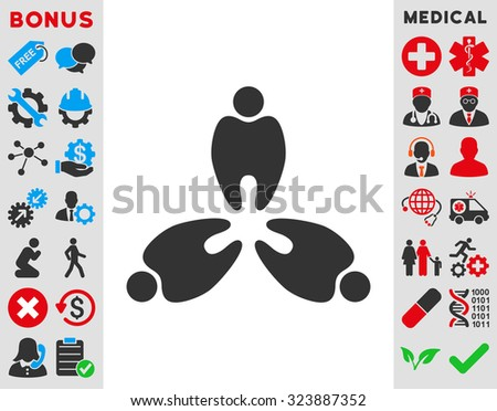 Stomatology vector icon. Style is bicolor flat symbol, blue and gray colors, rounded angles, white background.