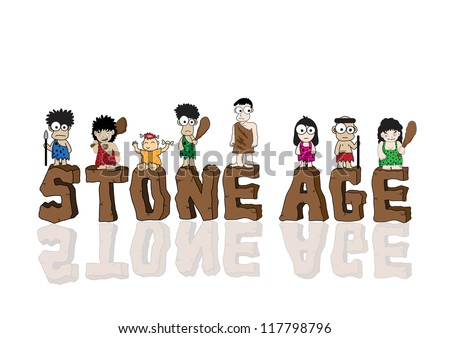 Stone age cartoon vector - stock vector