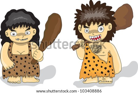 Stone Age people - stock vector