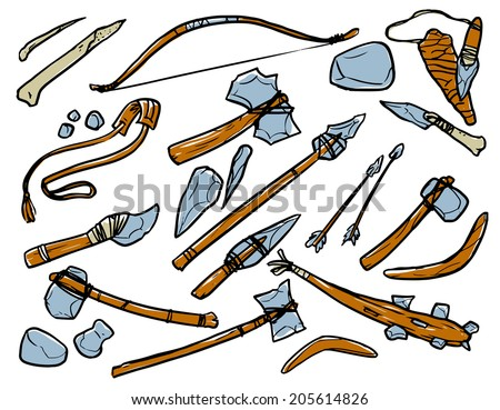 stone age weapons. black and white contour illustration - stock vector