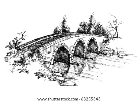 Stone bridge over river sketch 2 - stock vector