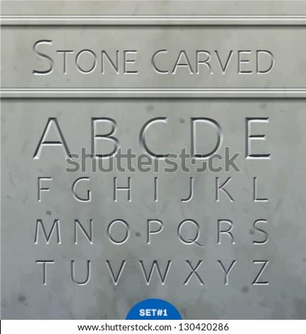 Stone carved alphabet - stock vector