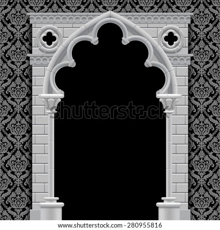 Stone gothic arch and wall in black and white colors on classic vintage background. Antique architecture frame.  Vector Illustration - stock vector