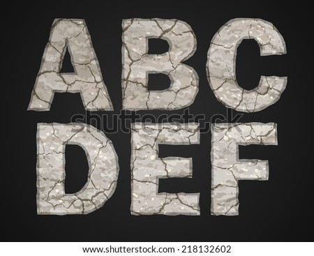 Stone letters set. Vector illustration.
