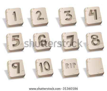 Stone Numbers - Vector Illustrations - stock vector