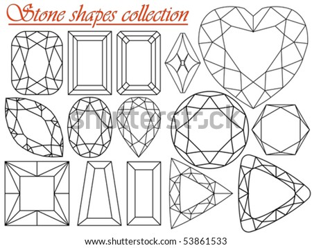 stone shapes collection against white background, abstract vector art illustration - stock vector