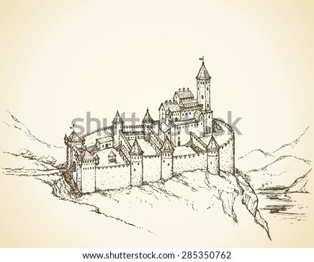 Stone wall Romanesque Fort and dungeon jail on rock hill. Vector fairy tale freehand ink drawn background sketch in art antiquity style pen on paper. Plan structure top view with space for text on sky - stock vector