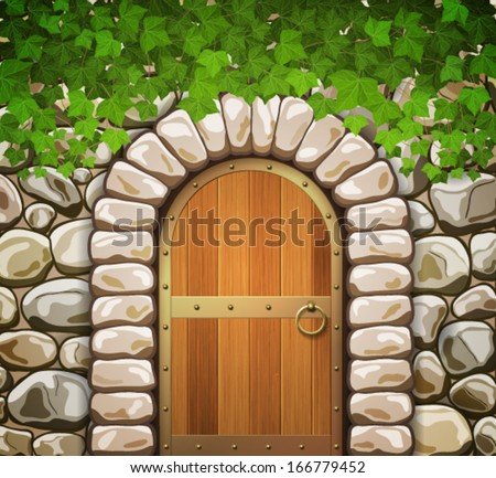 Stone wall with arched medieval wooden door and leaves - stock vector