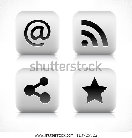 Stone web 2.0 button at, rss, share, star symbol sign. White rounded square shape with black shadow and gray reflection on white background. Vector illustration in wire mesh technique in 8 eps - stock vector