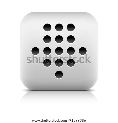 Stone web 2.0 button black dotted download arrow sign. White rounded square shape with black shadow and gray reflection on white background. This vector illustration created and saved in 8 eps
