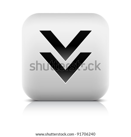 Stone web 2.0 button download symbol arrow sign. White rounded square shape with black shadow and gray reflection on white background. This vector illustration created and saved in 8 eps - stock vector