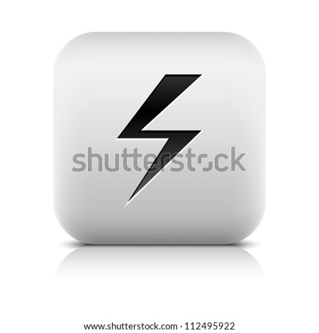 Stone web 2.0 button high voltage symbol sign. White rounded square shape with black shadow and gray reflection on white background. This vector illustration clip-art design element saved in 8 eps - stock vector