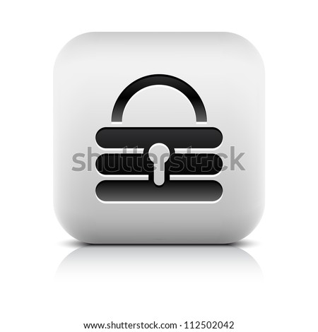 Stone web 2.0 button lock symbol sign. White rounded square shape with black shadow and gray reflection on white background. This vector illustration clip-art design element saved in 8 eps - stock vector
