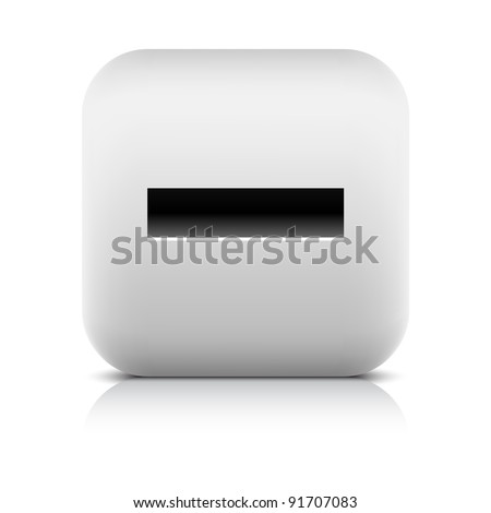 Stone web 2.0 button minus symbol sign. White rounded square shape with black shadow and gray reflection on white background. This vector illustration created and saved in 8 eps - stock vector