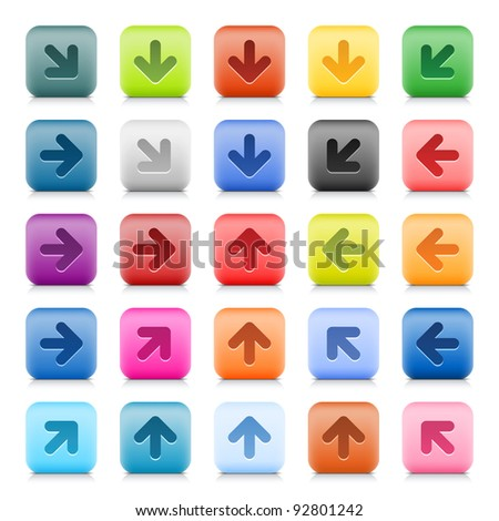 Stone web button with color arrow sign. 25 variation rounded square icon with shadow and reflection on white background. This vector created in technique of wire mesh and saved file 8 eps - stock vector