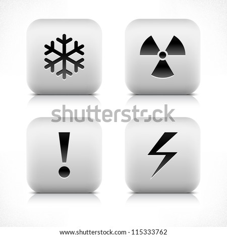Stone web 2.0 button with extreme cold, radiation, exclamation mark, high voltage sign. White rounded square shape with black shadow and gray reflection on white background. Vector illustration 8 eps - stock vector