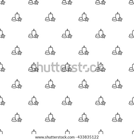 Stones, Candle and Plumeria Outline Seamless Pattern - stock vector