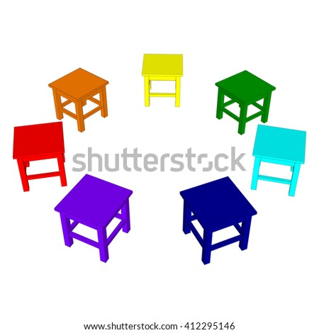 Stools arranged in a circle, painted in colors of the rainbow. Vector illustration. - stock vector