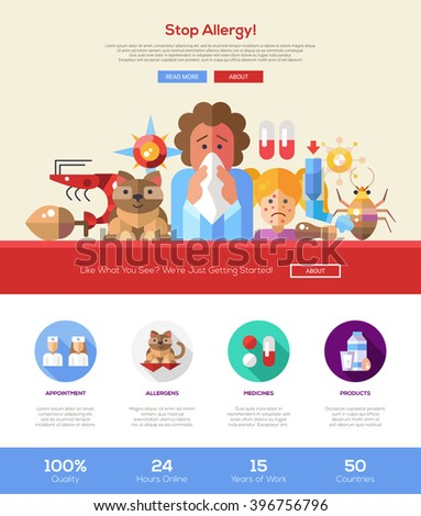Stop allergy information web site one page website template layout with thin line design header, banner, icons and other flat design web elements - stock vector