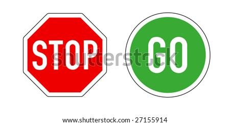 Stop and Go, traffic signs on white backgr - stock vector