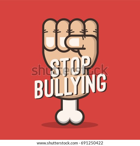 Stop Bullying poster inspiration with hand raising on the background