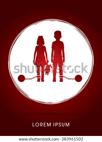 Stop Child abuse ,Children with chain and ball designed on grunge circle background graphic vector. - stock vector