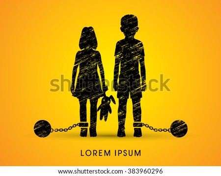 Stop Child abuse ,Children with chain and ball designed using grunge graphic vector. - stock vector