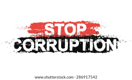 Stop corruption paint ,grunge, protest, graffiti sign. Vector - stock vector