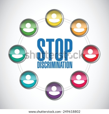 stop discrimination diversity people diagram illustration design over a white background - stock vector