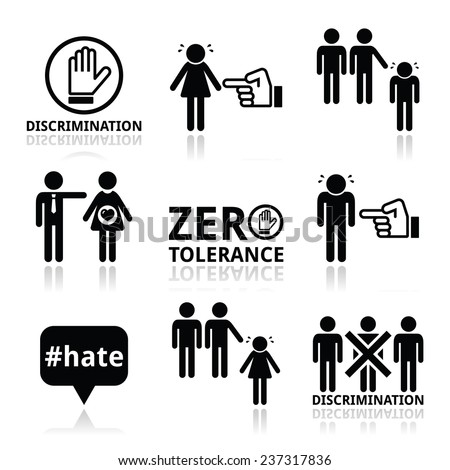 Stop discrimination of men, and women icons set    - stock vector
