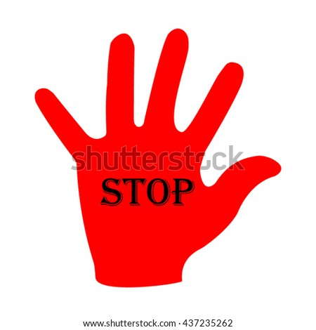 Stop hand silhouette, vector illustration