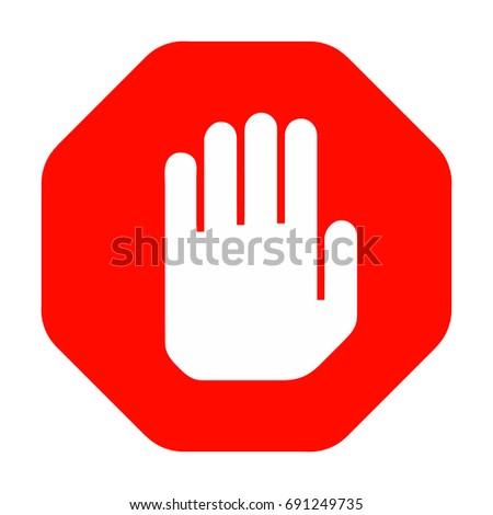 Stop Hand Symbol Red Octagonal Shape Stock Photo Photo Vector