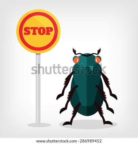 Stop insects vector flat illustration - stock vector