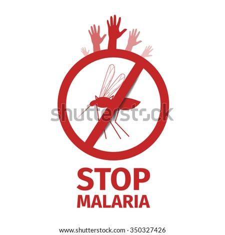 Stop Malaria Mosquito Symbol Hand  - stock vector